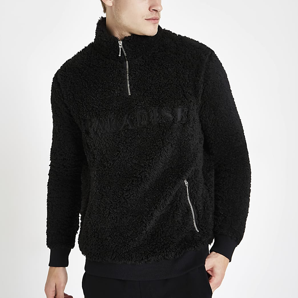 Black borg zip funnel neck jumper
