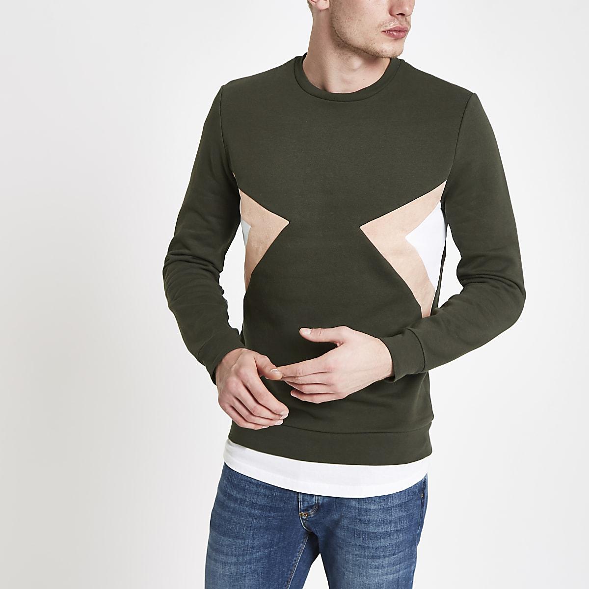 Khaki slim fit colour block sweatshirt