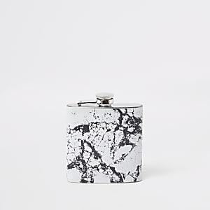 Black marble print hip flask