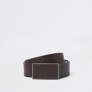 Brown RI textured plate buckle belt
