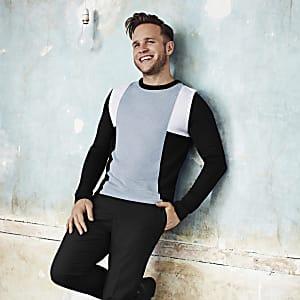 Olly Murs black block slim fit sweater