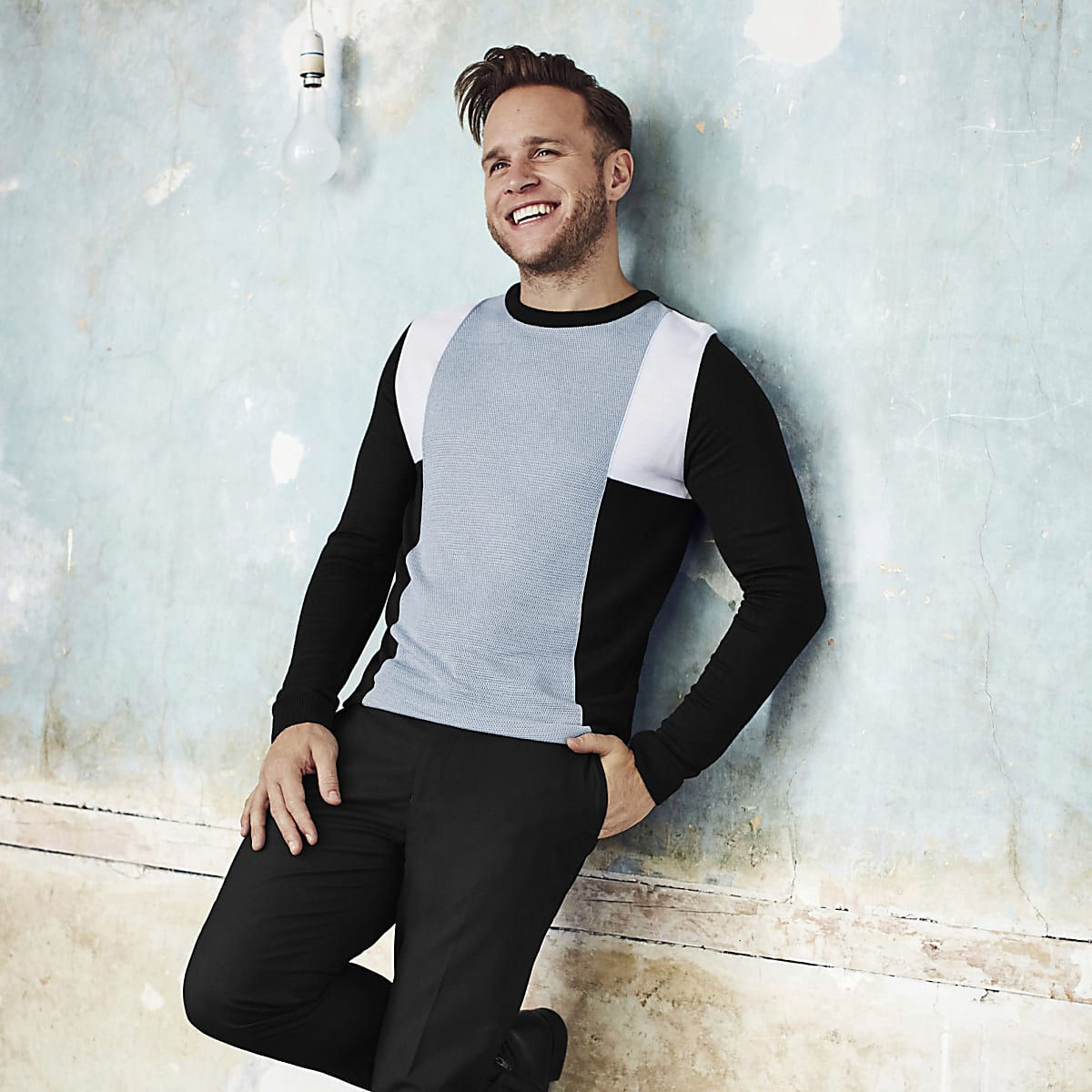 Olly Murs black block slim fit jumper