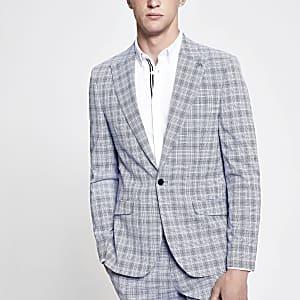 Blazer de costume skinny à carreaux bleu