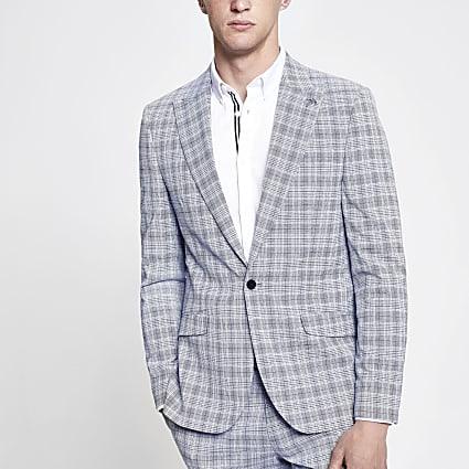 Blue check skinny fit suit blazer