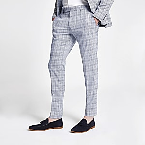 Blue check skinny suit pants
