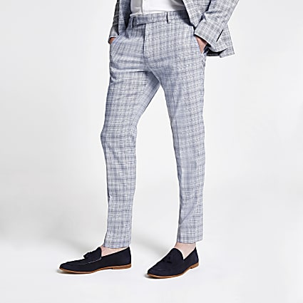 Blue check skinny suit trousers