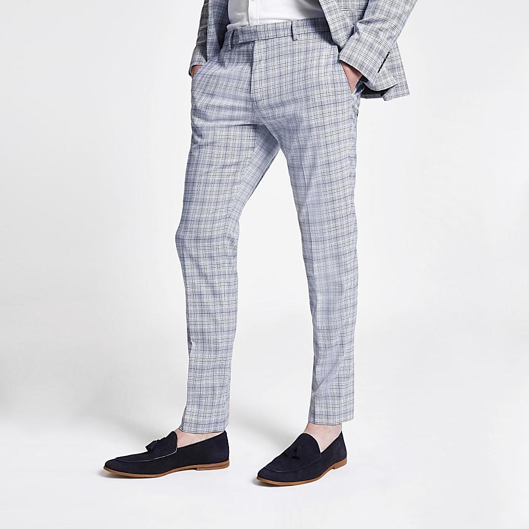 Pantalon de costume skinny à carreaux bleu