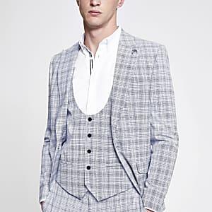 Blue check print suit waistcoat