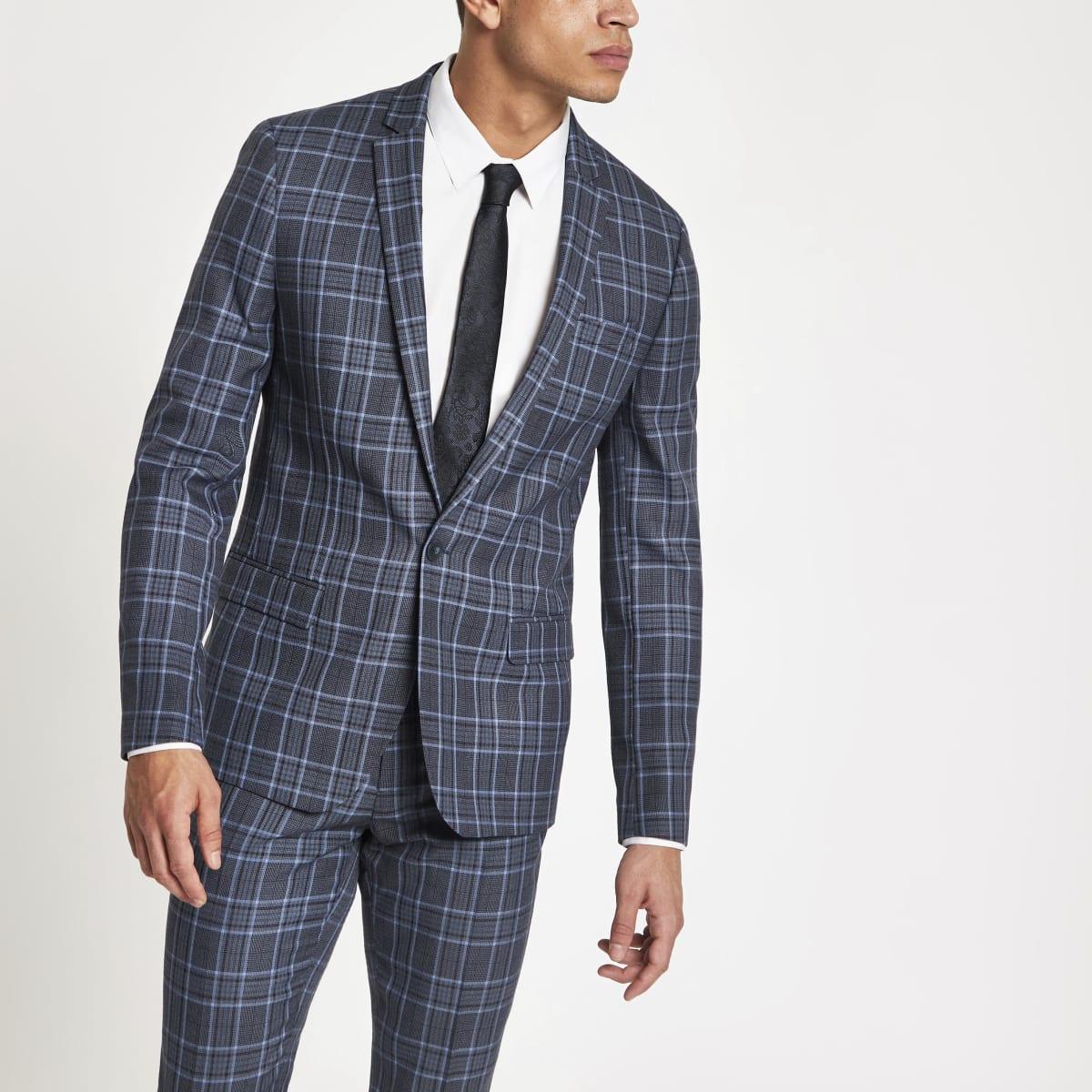 Veste de costume skinny à carreaux bleu vif