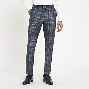 Bright blue check skinny suit pants