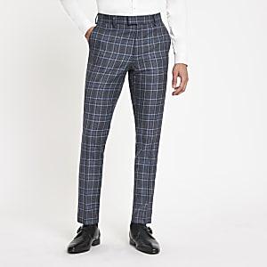 Pantalon de costume skinny à carreaux bleu vif