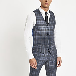 Bright blue check suit waistcoat