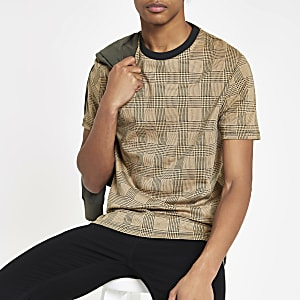 Braunes, kariertes Slim Fit T-Shirt