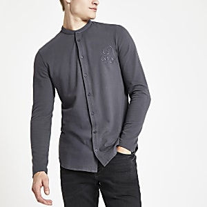 Dark grey R96 muscle fit grandad shirt