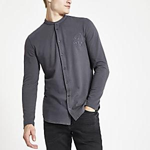 Dark grey R96 muscle fit grandad shirt