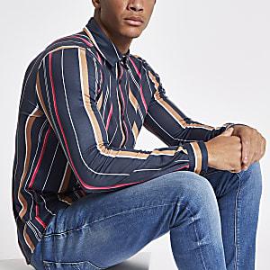 Navy vertical stripe print button-down shirt