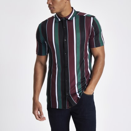 Burgundy vertical stripe button-down shirt