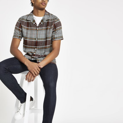 Black multi check revere shirt
