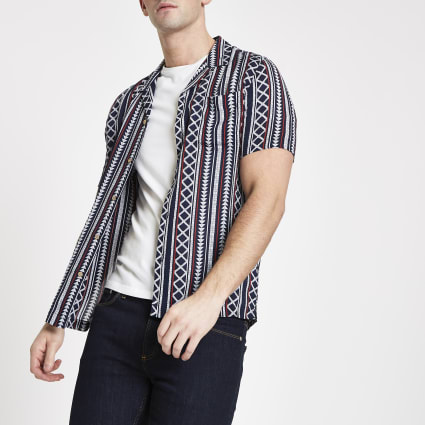 Navy Aztec short sleeve shirt