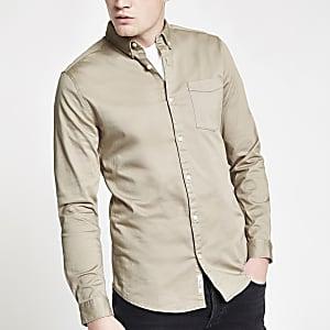 Ecru overhemd met knopen en lange mouwen