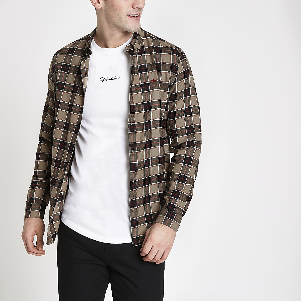 Stone check slim fit long sleeve shirt
