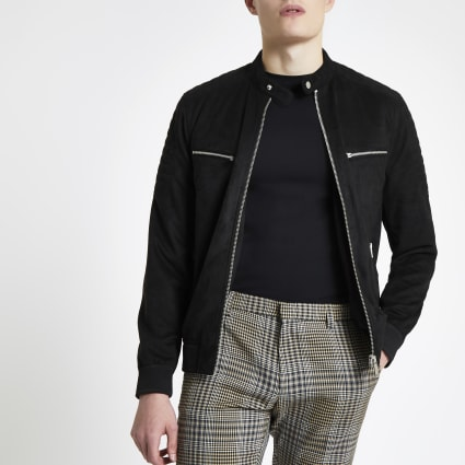 Black faux suede racer neck jacket