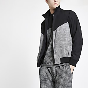 Black check chevron split track jacket