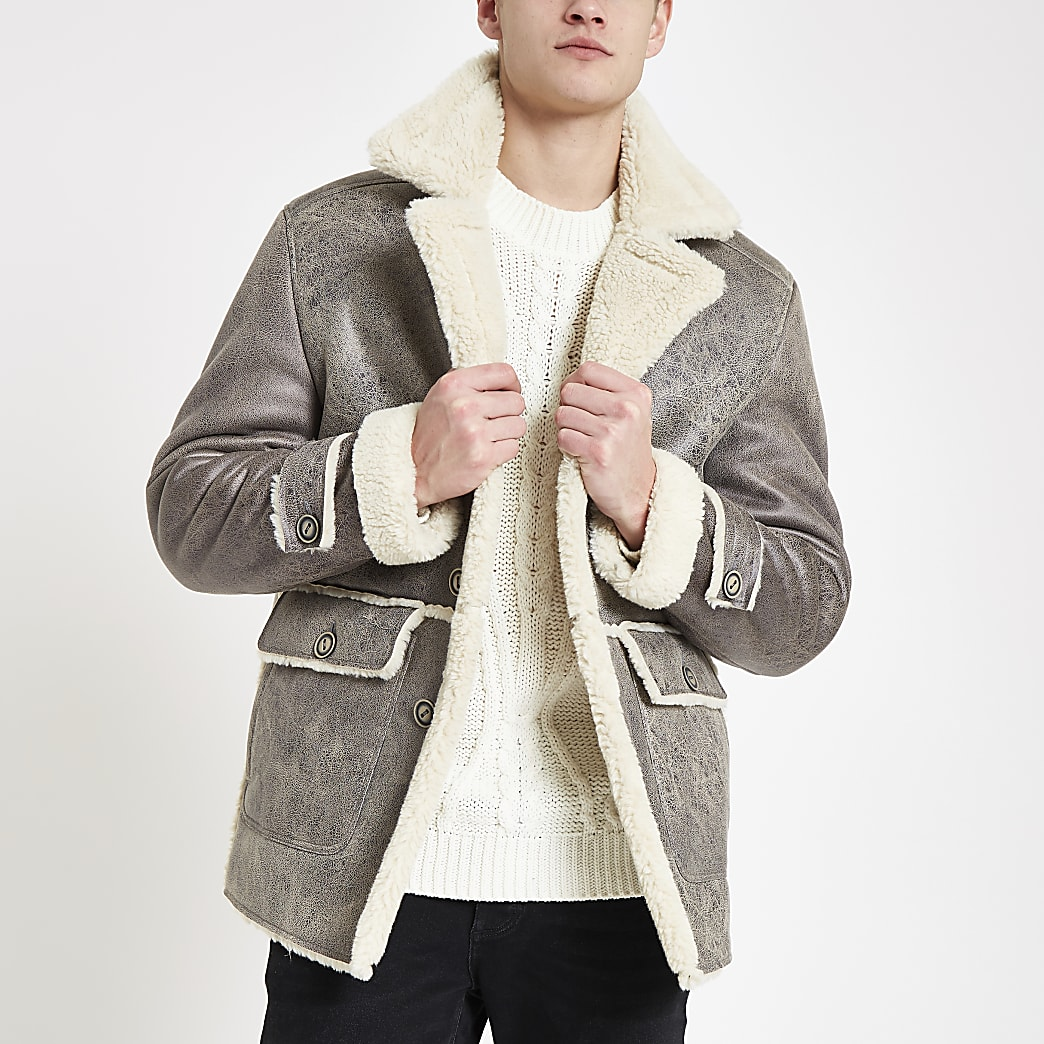 Grey shearling lined button down jacket