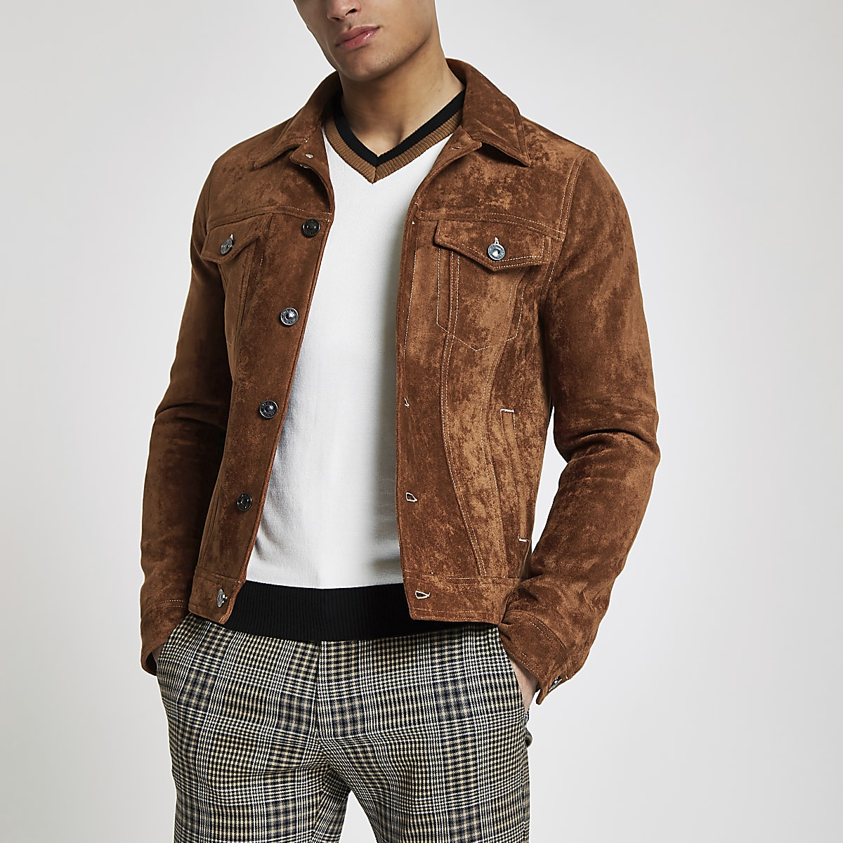 91926e4fa Brown faux suede western jacket