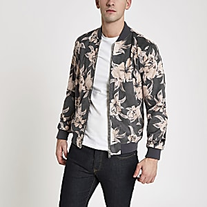 Grey floral faux suede bomber jacket