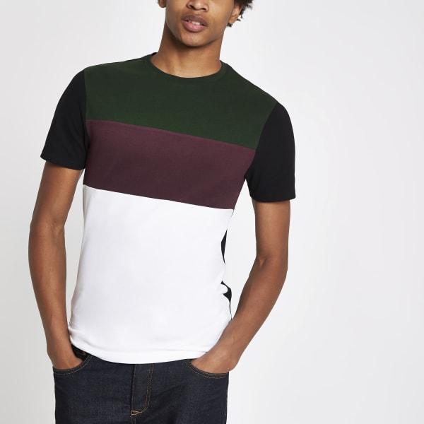 River Island - t-shirt ras-du-cou color block - 1