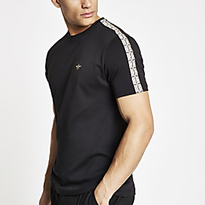 Black check taped sleeve T-shirt