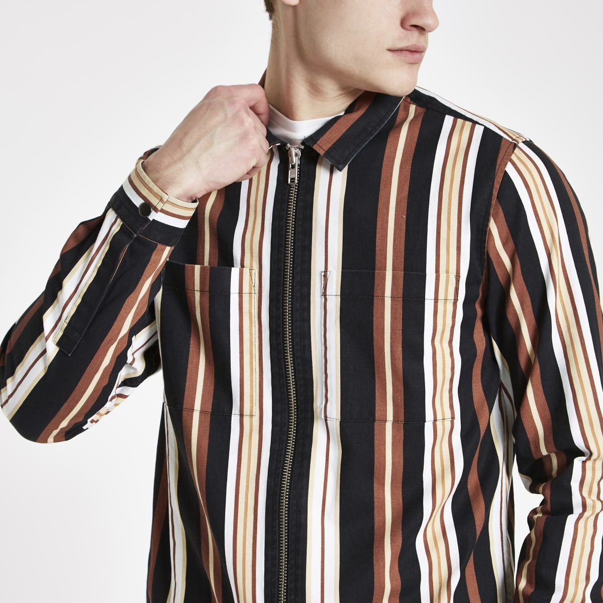 Black stripe print zip though shirt