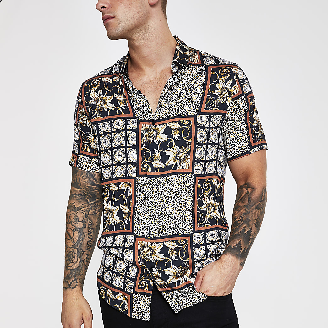 Black mixed tile and animal print shirt