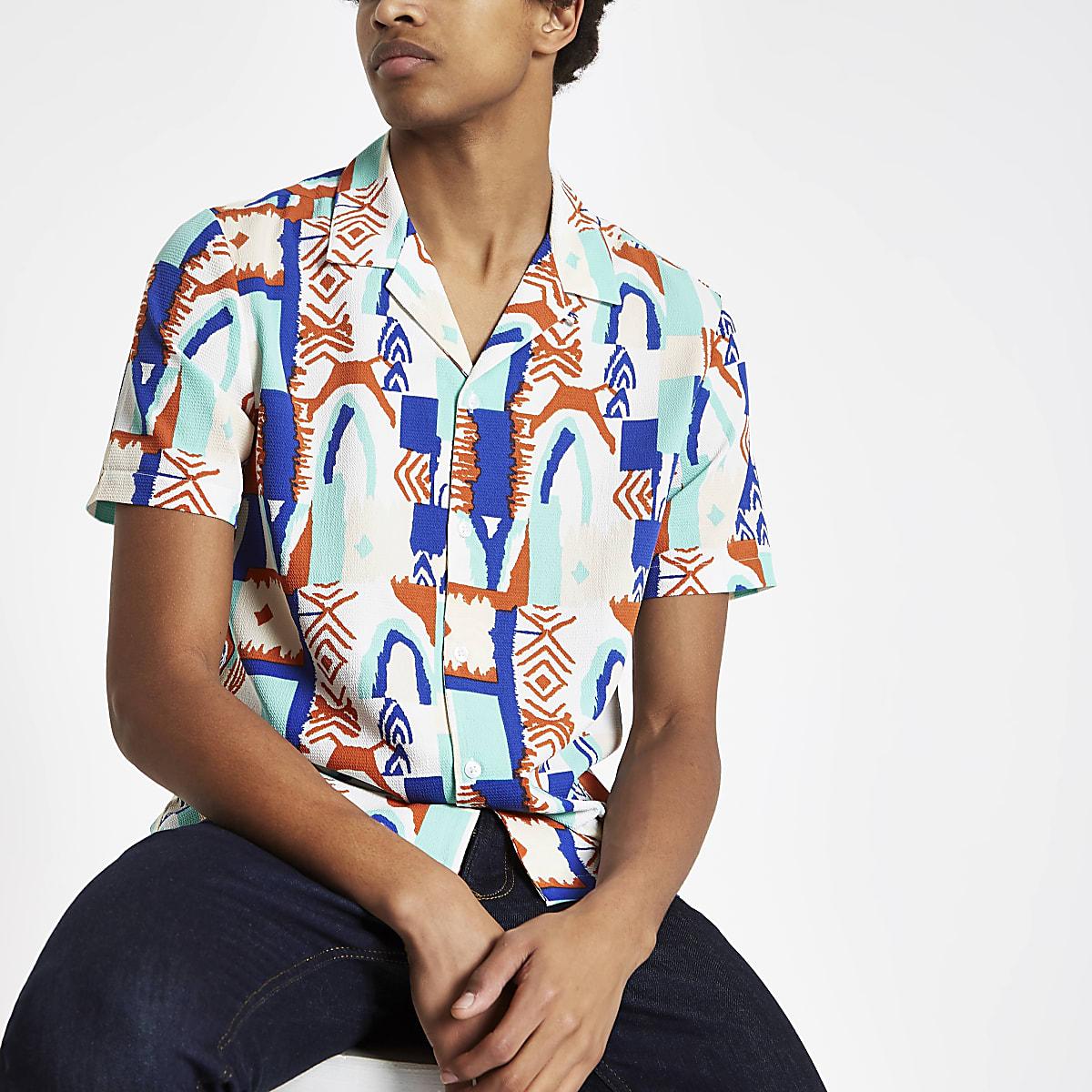 White crepe geo print revere shirt