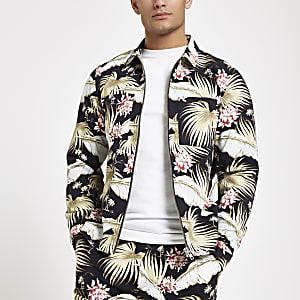 Black floral print zip though shirt