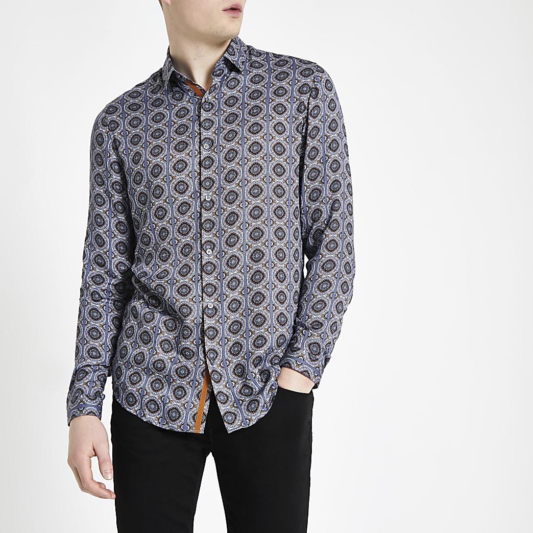 Blauw overhemd met tegelprint en lange mouwen