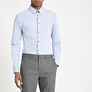 Lichtblauw poplin overhemd met lange mouwen