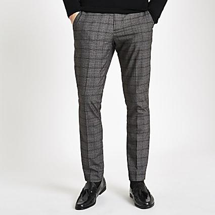 Dark grey check skinny smart trousers