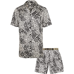 White snake print satin pajama set