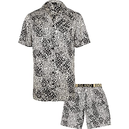 White snake print satin pyjama set