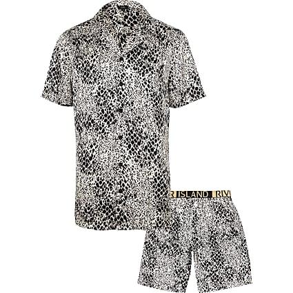 White snake print satin pyjama set