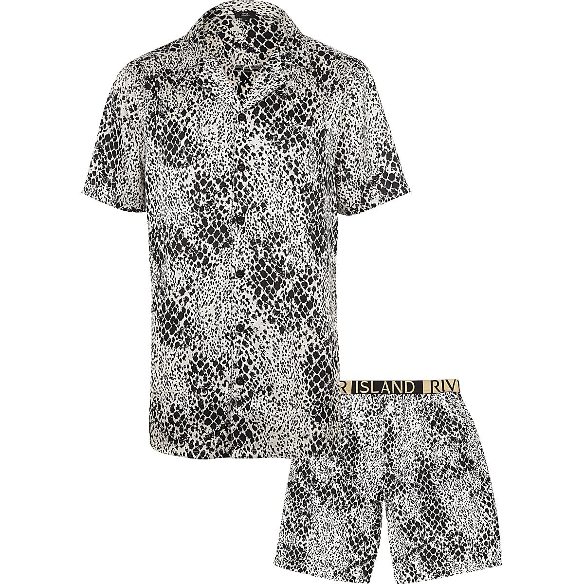 79c3bfa34d2f White snake print satin pajama set - Pajamas - Loungewear   Pajamas ...