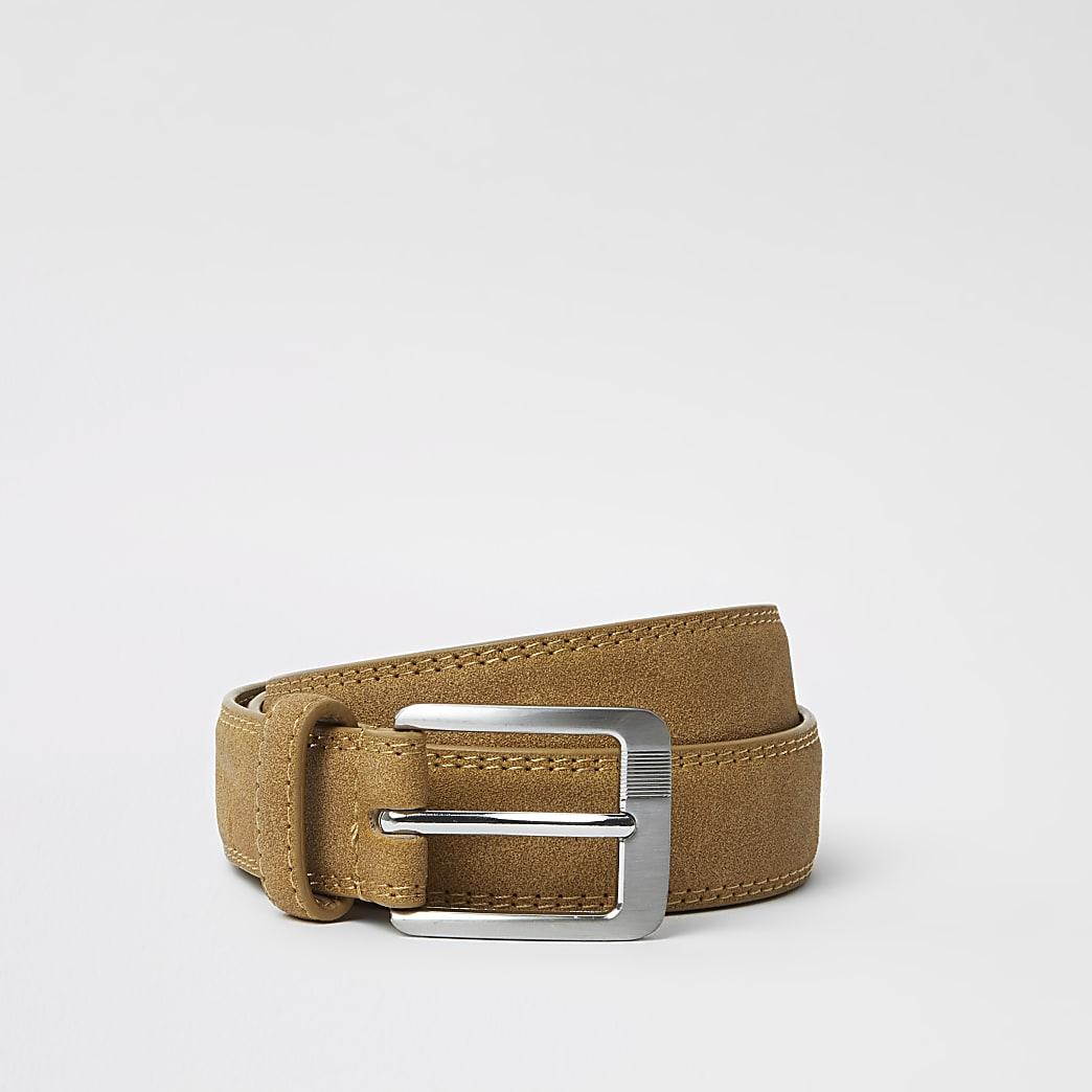 Light brown RI monogram belt