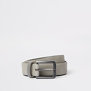Grey suede buckle belt