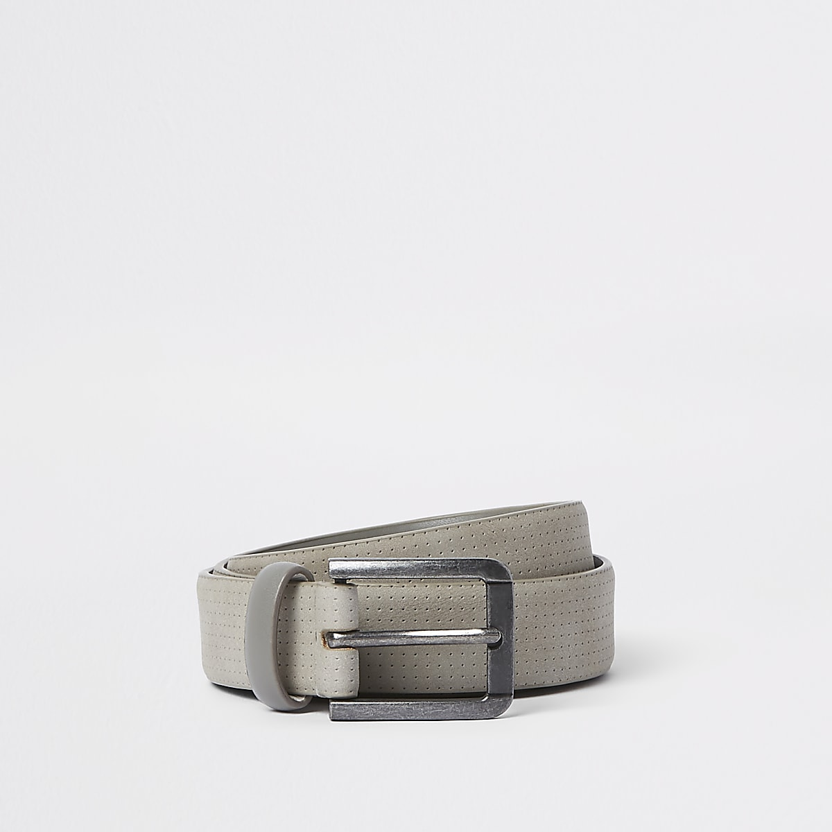 Grey suede buckle belt