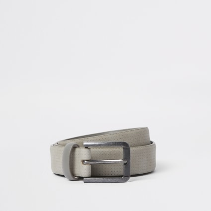 Grey faux suede buckle belt