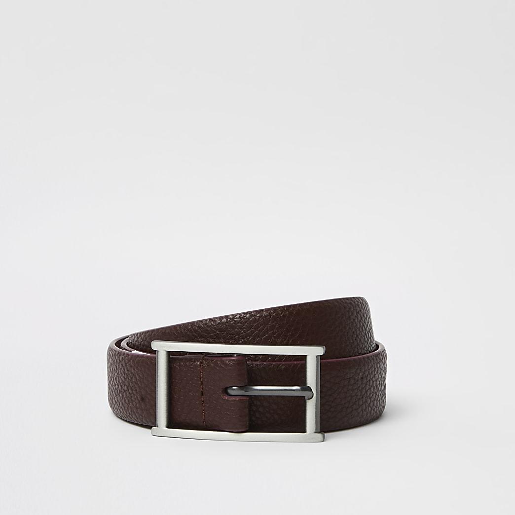 Dark red croc buckle belt
