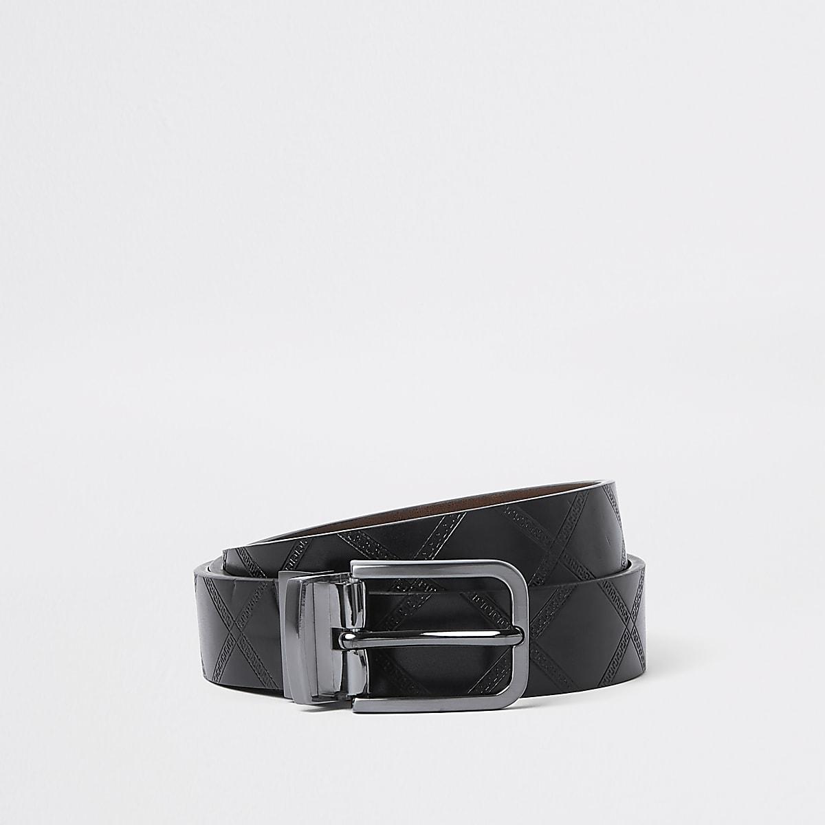 Black reversible diamond belt
