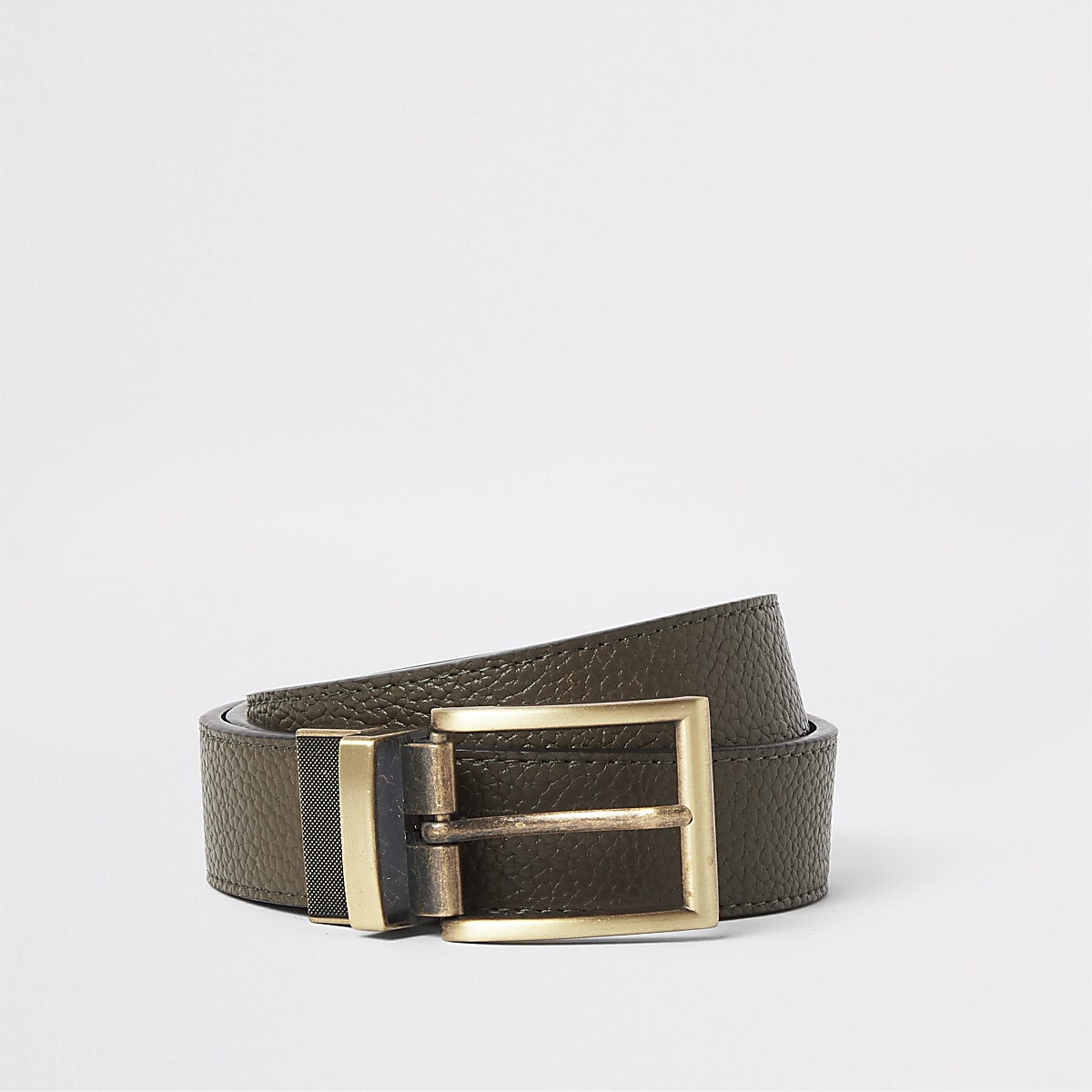 Green textured faux leather reversible belt